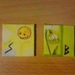 Sowilo und Berkana - Runen mit Aquarellfarben und Serviettentechnik auf Keilrahmen